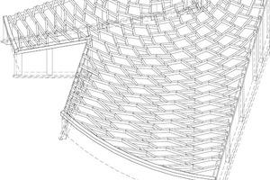 Ausschnitt Axonometrie Dachtragwerk