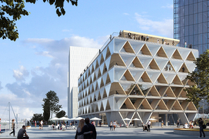 """Büroneubau mit Namen, der Programm ist: """"The Cradle"""", Duesseldorf (HPP Architekten mit Dreso, Fertigstellung geplant 2022)<br />"""