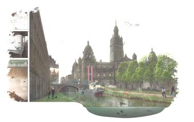 """Mutualism in the City Gary Yeow, Amy Peacock, Saen Craig, Glasgow (UK) Die Stadtentwicklung ist traditionell auf dem Konzept der Stadtmitte, als zentralem und dichtbesiedeltem Arbeitszentrum, begründet. """"Mutualism in the City""""schlägt eine Alternative vor. Das Projekt veranschaulicht ein polizentrisches Modell, das Bevölkerungsmassen und Ressourcen auf die umliegenden Bezirke verteilt, gleichzeitig wird im Stadtkern ein Re-Naturierungsprozess eingeleitet. Nach diesem Modell sollen gesündere, lebenswertere und erfolgreichere Städte entstehen."""