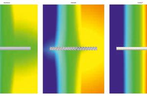 Der Einfluss der Materialien Aluminium (links), Edelstahl (Mitte) und Schöck Combar (rechts) auf den U-Wert: Bei Isothermen mit Aluminium liegt der Wärmewiderstand bei 160-200 W/K, bei Isothermen mit Edelstahl bei 13-15 W/K, bei Isothermen mit Schöck Combar bei gerade einmal 0,7 W/K.<br />