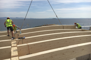 Das Dachtragwerk wird von Primärträgern aus Eiche und Baubuche mit dazwischen gespannten Sekundärträgern aus Fichte gebildet<br />
