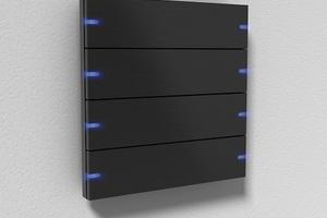 Die LED zur Statusanzeige gibt es mit acht Farbeinstellungen, abgebildet ist der Gira Tastsensor 4 Aluminium Schwarz mit LED Blau.