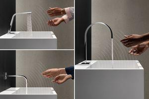 """Ganz dem Motto """"Touchfree"""" bietet Dornbracht Waschtischarmaturen, die bei Annäherung starten, ohne optische Einschränkungen. Die berührungslose Steuerung basiert auf einer aktiven Bewegungserkennung ohne sichtbare Sensoren an der Armatur"""
