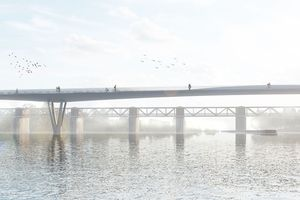 Die neue Rad- und Fußwegbrücke über den Neckar wird so aussehen (1. Preis im Wettbewerb)