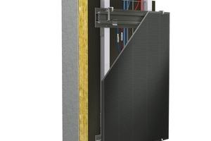 Systemaufbau von LithoFix Glassic PV: Durch das analoge Konstruktionsprinzip lassen sich die Photovoltaik-Elemente auf der gleichen Unterkonstruktion mit den anderen LITHO-Systemen kombinieren. So wird auch der Einsatz von bauwerksintegrierter Photovoltaik in Teilbereichen der Fassade ermöglicht