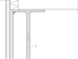 "Detail 1 Rooflight, Übergang zu Vertikalverglasung, M 1:15<irfontsize style=""font-size: 6.500000pt;""></irfontsize><div class=""legenden"">1Dreifach-Verglasung</div><div class=""legenden"">2Primäre Tragstruktur, Stahl, IPE-Träger</div><div class=""legenden"">3Verglasung, vertikal</div><div class=""legenden"">4Sandwichpaneel</div>"