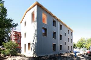 Holzhaus mit Loggia und dahinter die Ziegelvariante