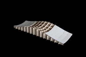 Das Lehrgerüst als Modell mit aufgelegten Fertigteil-Elementen