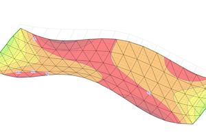 Verformung: Durch die Darstellung der Verformung ließ sich erkennen, dass in den Auflagerbereichen die Verformung am geringsten und im Randbereich sowie in Schalenmitte am größten war.