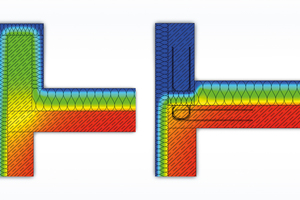 03 In der linken Thermografie ist ein Anschluss mit umlaufender Dämmung und deren Wärmeverluste zu sehen. Die rechte Thermografie zeigt den Wärmestrom eines Attikaanschlusses mit thermischer Trennung