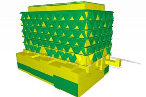 """03 The Cradle: Visuelle Darstellung der C2C-Bewertungskriterien """"Recycling"""" und """"Downcycling"""" im BIM-Modell. Gelb: downcyclingfähig, grün: recyclingfähig."""