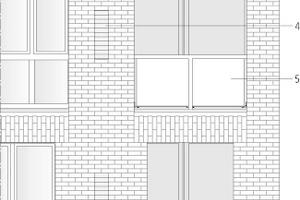 """Fassadendetail M 1:100<div class=""""legenden"""">1 Fertigteil </div><div class=""""legenden"""">Stahlbetonfertigteil belegt mit Ziegelriemchen 25mm aus Verblendervollsteinen geschnitten, analog durchlaufende Fuge bei 115mm, ggf. innenseitig Kreuzfugenverband; Fugen analog Ortmauerwerksfuge, Ortmauerwerk und Fertigteile sind in einem Vorgang einheitlich zu verfugen; Kreuzfugen an den Stößen der unterschiedlichen Elementen sind zu vermeiden; Ecken mit vertikal gestapelten stehende Klinkersteinen</div><div class=""""legenden"""">2Eckpfeiler Beton 5.–6.OG</div><div class=""""legenden"""">Sichtbetonfertigteil 49x49cm, dunkel pigmentiert; scharfe Kanten (Radius 3mm), stehend glatt geschalt; keine sichtbaren Schalungsstöße, Transportanker und Fixierungen; Pigmentierung mit 100% Eisenoxyd-Pigmente Farbe annähernd RAL Ton 8022 (Schwarzbraun); 8–9% einer Mischung aus 80% Bfx Schwarz 360 20% Bfx Braun 686 in Grauzement</div><div class=""""legenden"""">3Fensterteil, Fenstersturz</div><div class=""""legenden"""">Stahlbetonfertigteil belegt mit Ziegel-Riemchen 25mm aus Verblendervollsteinen geschnitten, analog Verblendfläche; Läuferverband vertikal, Untersicht: durchlaufende Fuge bei 115mm, innenseitig Kreuzfugenverband; Fugen analog Ortmauerwerksfuge, Dehnungsfugen analog der Ortmauerwerksfuge besandet und farblich angeglichen, Ortmauerwerk und Fertigteilen in einem Vorgang einheitlich zu verfugen</div><div class=""""legenden"""">4 Blindfeld</div><div class=""""legenden"""">Alternativ zu Schallschutzfenster; Klinker, NF (240x115x71mm); nur Läufer, Feld 20mm zurückversetzt, Fugenglattestrich, Fugenmörtel analog Vormauerwerk 1.–6.OG</div><div class=""""legenden"""">5 Absturzsicherung Loggien bombiertes Stahlblech feuerverzinkt und Pulverbeschichtung RAL 9017 """"Verkehrsschwarz"""" gem. Bemusterung</div><div class=""""legenden"""">6 Klinkerverblenderfassade 1.–6.Obergeschoss</div><div class=""""legenden"""">Vandersanden """"Gunnar"""", schwarz-braunen, NF (240x115x71mm) Fugen flächenbündig grob abgebürstet; Vormauermörtel, keine nachträgliche Verfugung, Kö"""
