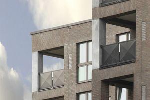 """Loggien auf jeder Gebäudeecke sind klare Statements für die Artikulation geschützter Außenräume im rauen Hafenklima. Die Betonfertigteilstützen in den beiden Obergeschossen verweisen auf die gewollte Verjüngung der Stützenquerschnitte von unten nach oben. Hier oben noch ein Bild von """"gemauert"""" zu erzeugen, war den Architekten nicht mehr angemessen"""