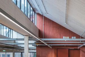 Das JKU-LIT Open Innovation Center in Linz wurde zur Gänze aus vorgefertigten Holzelementen errichtet. Die Basis bildet ein massiver Sockel aus rötlich eingefärbtem Beton, der u.a. einen hochsensiblen Reinraum beinhaltet
