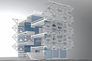 Halbgeschossig versetzte Ebenen sind über das Atrium visuell miteinander verwoben und bilden ein räumliches Kontinuum
