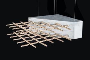 Ein Prototyp von Bambusbeton, der von der AFL unter Verwendung einer Bambusverbundverstärkung entwickelt wurde, die wasserbeständig, nicht quellend und langlebig ist