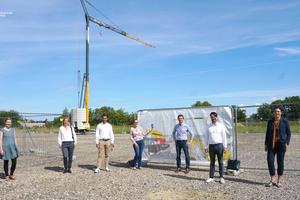 Mitarbeiter besuchen die Referenzbaustelle des Center Construction Robotics (CCR)