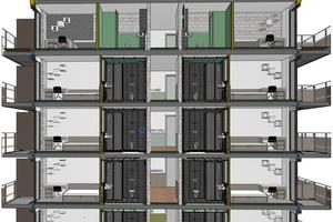 Ein Schnitt durch das Modell des Schwesternwohnheims Nonnenbuckel. Bei dem Projekt ist das Gebäudemodell u.a. für die Vorfertigung der kompletten Nasszellen, Decken, Balkone und Geländer genutzt worden. Die Fertigteile und Module wurden auf Basis des 3D-Modells von den Produktionsfirmen entwickelt, bei JSB abgestimmt und auf Kollisionen geprüft und anschließend im Werk gefertigt