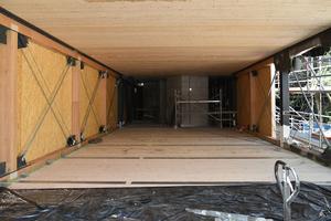 Hybrides Fachwerk aus BauBuche mit Zugbanddiagonalen