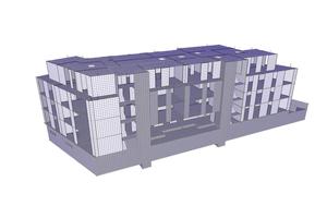 Das SCIA Analysis Modell des Mehrfamilienhauses unten