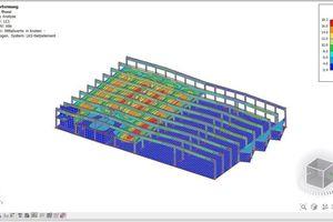 So sieht das Tragwerksmodell in der Software SCIA Engineer aus. Visualisiert sind die 3D-Verformungen der Tragkonstruktion<br />