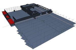 Die Basis bildet auch hier das Gebäudemodell, aus dem das Tragwerksanalysemodell (Im Bild) abgeleitet wird<br />