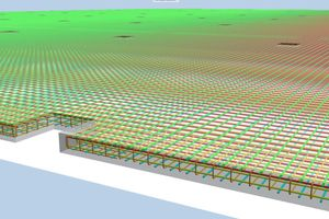 Im Bild ist die Bewehrung innerhalb des Stahlbetons in 3D dargestellt. Für die Bewehrungsplanung setzen Löser+Körner Allplan Engineering ein<br />