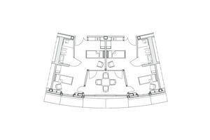 Grundriss Einzelzimmer, M 1:200
