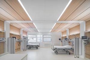 Der Aufwachraum soll eine wohnliche Umgebung nach der Operation bieten und den PatientInnen das Gefühl eines persönlichen Raums innerhalb dieses überwachten Bereichs geben. Indirektes Licht und Tageslicht tragen zur Stressreduktion bei