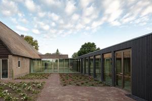 Ruhepol: Der bepflanzte Innenhof bietet dem Auge Abwechslung und schafft so eine optische Überleitung zwischen Alt- und Neubau
