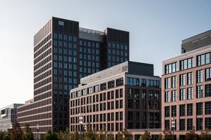 Mit den Bürogebäuden Brick und Tower wurden zwei der letzten Baufelder an der Europa-Allee geschlossen