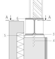 """Detail Anschluss Holzrahmenträger Bauteil C, Straßenseite, M 1 : 15<div class=""""legenden"""">1Holz-Außenwand, Bauteil C, 8,1cm</div><div class=""""legenden"""">2""""Fußstützen"""" HEA 120, alle 2,40m auf Obergurt des Stahlriegels geschweißt</div><div class=""""legenden"""">3In Untergurt eingelassen. Halbrundbohrung; Ø 48mm für Schweißverbindung mit Anschlussplatte</div><div class=""""legenden"""">4Verankerung der Anschlussplatte</div><div class=""""legenden"""">5In Untergurt eingelassene Rundbohrung; 2Ø30mm für Schweißverbindung mit Anschlussplatte. Flansch-ausschnitt, partiell für mittige Verschweißung mit Auflagerplatten (Verbundanker mit Senkkopf)</div><div class=""""legenden"""">6Stahlriegel HEA 160, durchlaufend auf Auflagerplatten verschweißt</div><div class=""""legenden"""">7Stahlwinkel durchlaufend 150x100x15mm an Fußstützen geschweißt</div><div class=""""legenden"""">8Träger auf Fußplatte örtlich aufmontiert, Schweißverbindung des Trägeruntergurts mit der Anschlussplatte mittels eingelassenen Rund- und Halbrundbohrungen aw=7mm umlfd., Anschlussplatte auf Attika gedübelt</div><div class=""""legenden"""">9Anschlussblech 25/250/15mm, alle 30cm auf Trägerflansch geschweißt, aw=10mm Verschraubung der Holzelemente: Holzschrauben 3 x 3 8 mm</div><div class=""""legenden"""">10Bestandsattika</div><div class=""""legenden"""">11Stahlwinkel h/b/t=350/300/20mm, L=200mm, 3 Stck. je Rasterfeld im Bestand, B=3,60m</div><div class=""""legenden"""">4 Verbundanker, FAZ – M 12 in Brüstung</div>"""