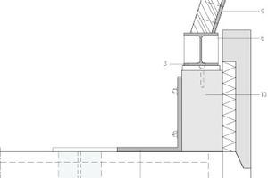 Detail Anschluss Holzrahmenträger Bauteil C, Hofseit, M 1 : 20