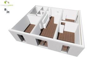 Die Visualisierung zeigt beispielhaft eine Vierzimmerwohnung, aus drei Einzelmodulen zusammengesetzt. Die Anzahl der Module ist flexibel. Übereinander gestapelt sind aktuell bis zu vier Vollgeschosse möglich