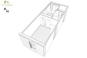 Timber Homes-Wohnmodul mit Schlafzimmer, Bad und Gäste-WC. Zu erkennen ist mittig im Bild die große Revisionsöffnung zum Hauptinstallations-schacht. Dahinter liegend: die als Modul gefertigte Badzelle von Hersteller Ceraflex aus Österreich