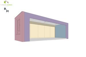 Das Gewerbemodul mit den Fassaden und den Ausbauelementen: Jedes Modul besteht aus bis zu ca. 1800 Einzelbauteilen. Die unterschiedlichen Farben beschreiben die Bauteile, die zusammenhängend modelliert werden. Gleichfarbige Bauteile kennzeichnen wiederum Untergruppen, die als Hotlink in der Datei verortet sind