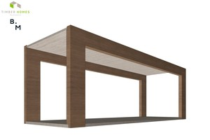 Rahmenkonstruktion eines Gewerbemoduls: Durch die seitlichen Öffnungen lassen sich die Module flexibel zu großen, offenen Räumen zusammenschließen