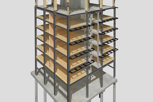Hybrid als Struktur: Das eingesetzte Brettschichtholz verursacht 838kg weniger CO<sub>2</sub> (gemäß Modulbewertung A1-A3) als Beton - ist also drei bis vier Mal klimafreundlicher