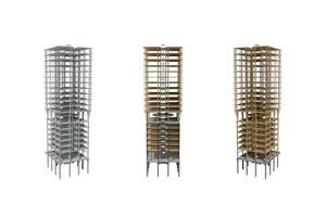 Modul-Modelle: Das gleiche Gebäude aus Beton (r.), als Hybrid (M.) und in Holzbauweise (r.)