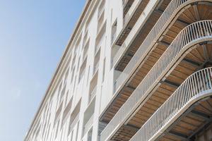 Da die Wohnfläche nach oben hin größer wird, erhöht sich auch die Loggienfläche pro Wohneinheit