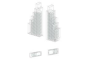Isometrie der zwei Wohnhochhäuser, o. M.