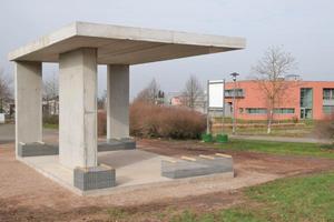 Pilotprojekt: Pavillon aus Fertigteilen mit recycelten Baumaterialien im Pirmasenser Stadtteil Husterhöhe, mit einer Fläche von 5x7m