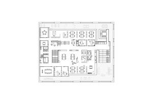 Im Zentrum des Raumkonzepts steht der offene Team- und Projektbereich (Mitte). Darum herum gruppieren sich offene Arbeitsbereiche, zu denen auch das Management-Office gehört (o.), Arbeitsräume für Video- und Telefonkonferenzen (r.) mit anschließender, großzügiger Teeküche (ganz r.) flexible Einzelarbeitsplätze (u.r.), ein großer Konferenzraum (u.l.) sowie Räume für die Lagerung von flexibel einsetzbaren Büromöbeln