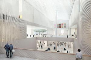 Im ersten Visual ist der Knotenpunkt noch offen, in der detaillierten Überarbeitung – weniger krass – finden sich Glaswände und neue Mauern