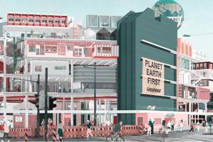 """Anerkannt: Ayat Tariks (TU Braunschweig) Entwurf """"(Un)Perfekt Reconstruct Lab - Vom Warenhaus zum Experimentierlabor für eine nachhaltige Stadtentwicklung"""""""