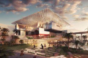 Campus Germany - EXPO 2020 Dubai: Über den gestapelten Ausstellungs- und Entertainmentcontainern schwebt ein leichtes Schutzdach
