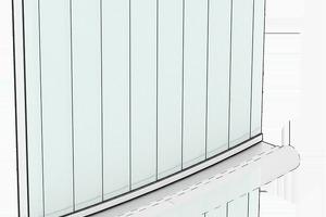 Isometrie Profilgläser mit Unterkonstruktion für Beleuchtung und Vorhänge