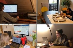 Gemeinsam an einem Tisch konnten die Architekturstudierenden Katy Guth, Niclas Peter, Rowina Perner und Karlie Wasser (von links oben nach rechts unten) leider nicht arbeiten. Die Entwürfe haben sie eigenständig im Homeoffice bearbeitet