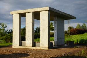 Pavillon in Pirmasens: Elementplatten und Doppelwände wurden mit Brechsand und -zement hergestellt.