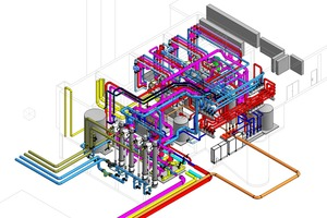 """Das simulierte Energiesystem mit passend dimensionierten Komponenten bildet die Basis für eine räumliche Abbildung der Heizzentrale (Beispiel """"die Überseeinsel"""")"""
